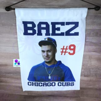 CHICAGO CUBS JAVIER BAEZ GARDEN FLAG BY CR8TIVE RELEASE GIFTS