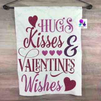 HUGS KISSES & VALENTINE WISHES GARDEN FLAG BY CR8TIVE RELEASE GIFTS
