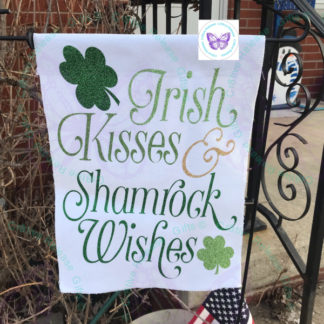 IRISH KISSES & SHAMROCK WISHES GARDEN FLAG BY CR8TIVE RELEASE GIFTS