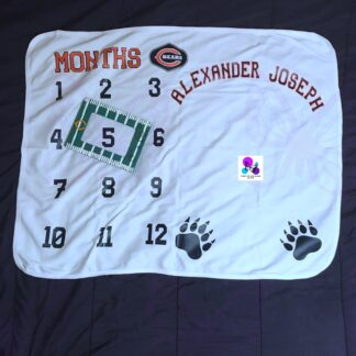 Chicago Bears Milestone Baby Blanket by Cr8tive Release Gifts