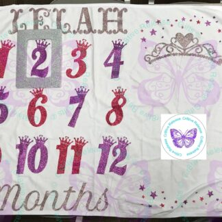 GLITTER PRINCESS DIVA MILESTONE BABY BLANKET BY CR8TIVE RELEASE GIFTS
